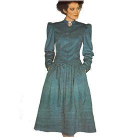 Steampunk Dress Pattern/ Vintage 1980s UNCUT Simplicity Victorian Two Piece Dress Sewing Pattern 6073. $12.00, via Etsy.