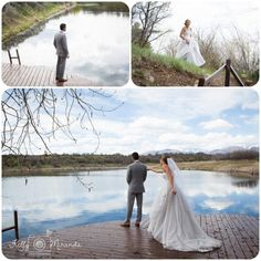 first look on dock at lake with mountains in background Durango Wedding Photographers blue lake ranch