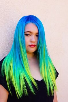 Mermaid hair Unicorn hair Rainbow hair by Toni Rose Larson @colordollz Blue hair Neon blue hair Turquoise hair Color Yellow hair color Color Melt Hair Painting hotonbeauty.com