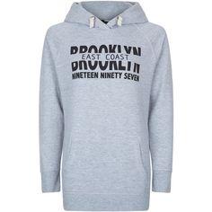 New Look Teens Grey Brooklyn Longline Hoodie (28 AUD) ❤ liked on Polyvore featuring tops, hoodies, grey, long sleeve hooded sweatshirt, gray hoodies, drawstring hooded pullover, grey long sleeve top and grey hoodies