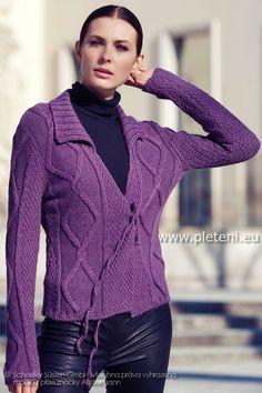 dámský ručně pletený kabátek z příze Alpaca Silk