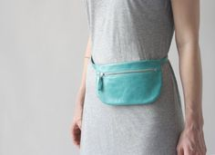 Turquoise Belt Bag (last one), flat fanny pack, leather hip bag, hip pouch, travel bag, small bum bag