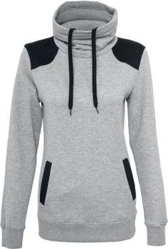 - high collar with drawstrings - ribbed cuffs - two insertion pockets - shoulder parts of contrasting colour  A feel-good-pullover without equal! The grey-black 'Ladies Contrast Shoulder High Neck' sweat shirt by Urban Classics does not only score with cosy fabrics and a comfortable fit, but also with the colour contrasting parts on the shoulders as well. Comes with a kangaroo pocket and an incredibly beautiful high neckline.
