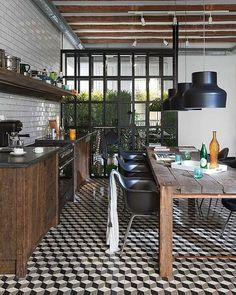 Industrial Dining | Falling Block Pattern | Geometric Pattern | Vintage Decor