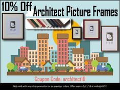 """We're offering 10% off our series of Architect Picture Frames online now through midnight EST 5/21/18! Use code """"architect10"""" for a discount on these beautiful wood frames. Picture Frames Online, Wood Frames, Coupon Codes, Coding, Beautiful, Color, Photo Frames Online, Wooden Frames, Colour"""