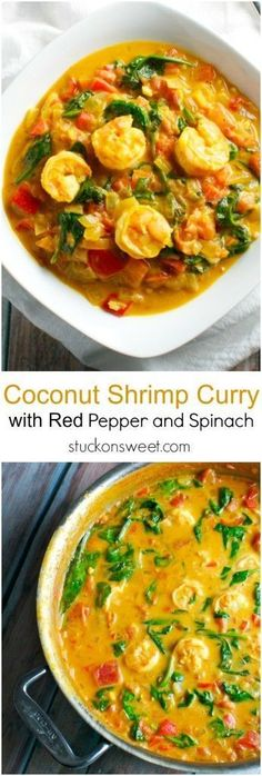Coconut Shrimp Curry with Red Pepper and Spinach. This recipe is healthy and perfect for dinner. Plus it has tons of flavor!