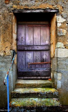 Door in Fercé-sur-Sarthe, Sarthe, France· Cool Doors, Unique Doors, Stairs And Doors, Windows And Doors, Entrance Doors, Doorway, Entrance Ways, Purple Door, Blue Doors