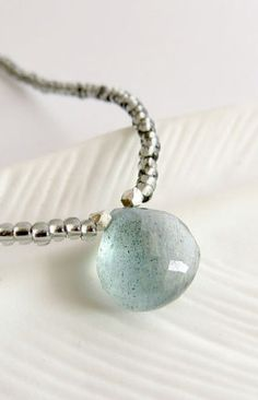 Moss aquamarine necklace beads Wehi Lani Mossy