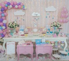 Linda da galeria do By . Diy Party Decorations, Birthday Decorations, Party Themes, Baby Boy Baptism, Baby Boy Shower, Cloud Party, Pig Birthday, Unicorn Party, Shower Party