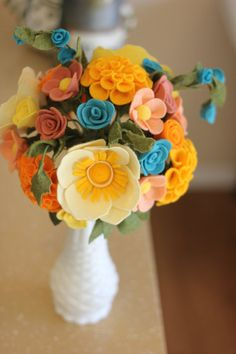 Custom Felt Flower Wedding Bouquet - DO NOT ORDER THIS LISTING (more info below)    Each bouquet will include 20 blooms on average. We will