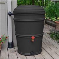 45-Gallon Rain Barrel with Spigot and Rain Gutter Water Diverter in Charcoal @ bestrainwatercollectionsystems.com