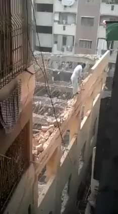 Professional brick wall destruction