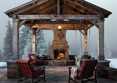 Holiday Outdoor Entertaining - Outdoor Living by Belgard - Baby, it's cold outside.but don't let that stop you from enjoying your outdoor living spaces w - Backyard Pavilion, Outdoor Pavilion, Backyard Patio Designs, Outdoor Pergola, Patio Ideas, Pergola Kits, Rustic Pergola, Gazebo Ideas, Pergola Roof