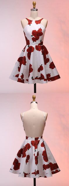 simple white stain red floral short homecoming dresses, fashion backless summer party gowns , a line knee length graduation dress for teens Floral Homecoming Dresses, Hoco Dresses, Dance Dresses, Sexy Dresses, Casual Dresses, Fashion Dresses, Fashion Clothes, Simple Dresses, Elegant Dresses
