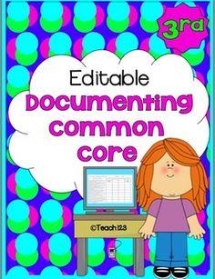 Editable documenting Common Core $ 2nd Grade Teacher, 2nd Grade Classroom, Elementary Teacher, Elementary Schools, Classroom Ideas, Primary Classroom, Classroom Resources, Fourth Grade, Classroom Organization