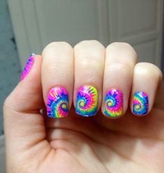 tie dye summer nail fashion - Finger Nail Polish Designs