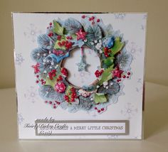 Docrafts Lucy Cromwell at Christmas Merry Little Christmas, Christmas 2015, Christmas Cards, Floral Wreath, Projects To Try, Frame, Decor, Christmas E Cards, Picture Frame