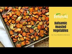 Need a new way to cook your vegetables? Try roasting your vegetables in a balsamic vinaigrette! Roasting caramelizes the sugars in the vegetables and creates. Roasted Vegetable Recipes, Roasted Root Vegetables, Veggies, Vegetarian Recipes, Cooking Recipes, Healthy Recipes, Healthy Foods, Food Festival, Brunch