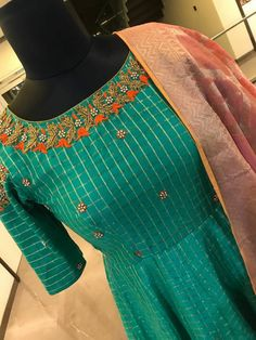 Beautiful floor length anarakli dress with cold shoulder. Anarkali with small flower and leaves design hand embroidery zardosi and orange thread work. Saree Blouse Neck Designs, Blouse Designs, Indian Designer Outfits, Designer Dresses, Indian Dresses, Indian Outfits, New Dress Design Indian, Kurta Patterns, Salwar Designs