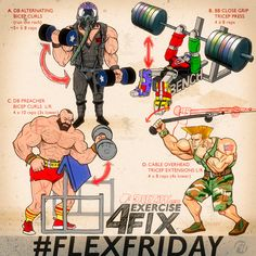 4 Exercises To Swell Up Those Arms A Flex Friday always needs a good arm workout. Muscle Fitness, Fitness Tips, Health Fitness, Hero Workouts, Gym Workouts, Workout Routines, Crossfit, Workout Posters, Flex Friday