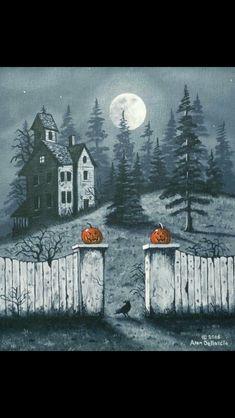 Art by Alan Dellascio Casa Halloween, Samhain Halloween, Halloween Artwork, Halloween Magic, Halloween Painting, Halloween Pictures, Halloween Horror, Holidays Halloween, Vintage Halloween