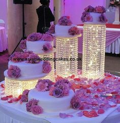 Wedding Cake Stand Cascade waterfall crystal set of 4 Asian Wedding Crystal cake Stand wedding with a battery operated LED light.- LIGHTS UNDER CAKE Purple Wedding, Our Wedding, Dream Wedding, Light Wedding, Wedding Flowers, Cake And Cupcake Stand, Cupcake Cakes, Wedding Cake Stands, Wedding Cakes