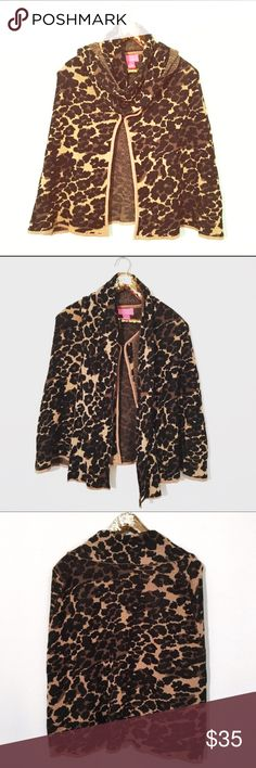 Betsy Johnson Capelet NWOT! Betsy Johnson Leopard Print Capelet/Wrap. One Size. Cream with black and brown spots and gold metallic threading. Can tie at the neck if desired. So unique and perfect for fall & winter. Can be dressed up or down. So soft & cozy!! Betsey Johnson Sweaters Shrugs & Ponchos