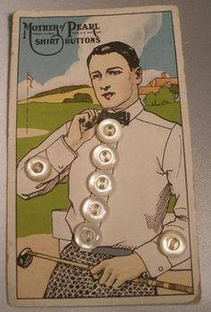 "(::)  rare ""Mother of Pearl"" Shirt Buttons on card.  1920's Golfer in his 'sport' shirt and bow tie! (collared shirts required!)"