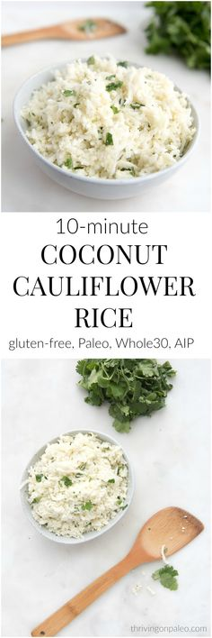 Coconut Cauliflower Rice - a Paleo, gluten-free, Whole30, AIP side dish recipe that takes 10 minutes and is super flavorful. Great with Asian-inspired dishes and for busy nights. #paleo #glutenfree #side #recipe #whole30 #aip