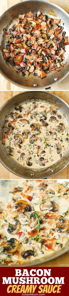 Low Unwanted Fat Cooking For Weightloss Creamy Mushroom Sauce With Bacon And Thyme - A Great Accompaniment To Baked And Grilled Meats, Chicken, Pork, Steaks. Creamy Mushroom Sauce, Creamy Mushrooms, Stuffed Mushrooms, Mushroom Chicken, Bacon And Mushroom Pasta, Cook Mushrooms, Rosemary Chicken, Garlic Mushrooms, Sauce Recipes