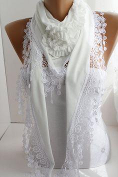 White Elegance Shawl Scarf, Triangle Lace scarf, bridal scarf, fall scarf Fashion Women Accessories, gift for her Lace Scarf, Chiffon Scarf, Cowl Scarf, White Elegance, Gowns Of Elegance, Sewing Clothes Women, Clothes For Women, Fashion Tips For Women, Womens Fashion