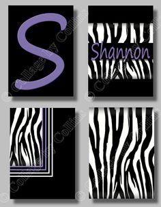 Personalized  Print ZEBRA Wall Art (4) 5x7s Decor Girls Teen Room Nursery