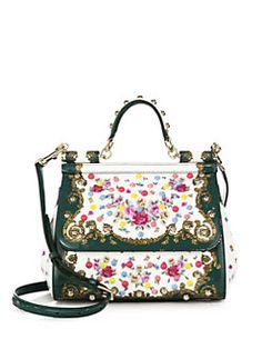 Dolce & Gabbana - Sicily Medium Studded Floral Patent Leather Top-Handle Satchel
