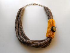 Collana Tricot Senape e Tortora : Collane di imma-art-design
