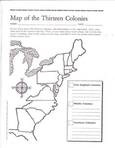 Blank 13 Colonies Map Worksheet  13 Colonies Printout Label Me