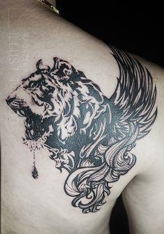 tiger & wing illustration tattoo   by. RAONZENA tattoo www.raonzena.co.kr
