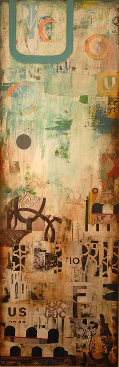 """Us & Them"" mixed media on canvas by artist, Jill Ricci.  Size 24""x60"", contact jill@parlor-gallery.com for pricing"