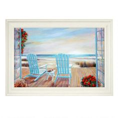 """One of my favorite discoveries at ChristmasTreeShops.com: 30""""x42"""" Adirondack Chairs Framed Wall Art"""