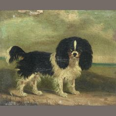 english school, 19th century king charles spaniels