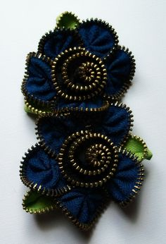 Double Zipper Flower Brooch by Zip Pinning