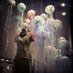 displays for local Anthropologie - display features beautiful illuminated jellyfish: Photo by hannahthebird