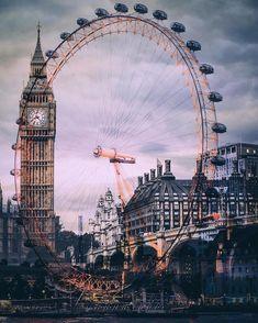 No hay otro lugar como Londres. Aquí tenemos una increible imagen que une The Big Ben y London Eye. There is nowhere else like London. Here we have an amazing picture that unites The Big Ben and London Eye. London Eye, London City, London Icons, London Tours, London Food, London Bridge, London Photography, Travel Photography, Photography Sky