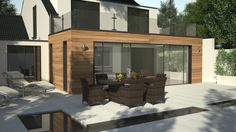 Image result for parapet extension with cladding Patio Slabs, Contemporary Patio, Cladding, Garden Furniture, Extensions, Windows, Architecture, Outdoor Decor, Modern