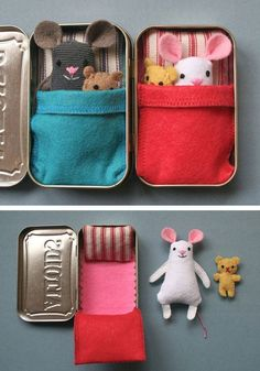 Wee Mouse Tin House | Click Pic for 22 DIY Christmas Gifts for Kids to Make | Handmade Christmas Gifts for Girls