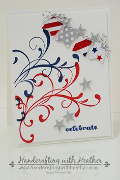 handmade patriotic card ... red white and blue ... flourishes, banners and stars ... fun look ... Stampin'Up!