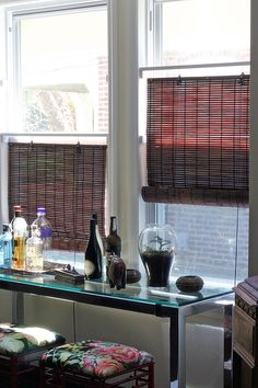 DIY Adjustable rail & bracket system to hang privacy shades. Cheaper than tops-down window treatment.