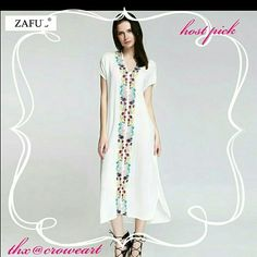 HPEmbroidered Boho Maxi  Dress White Embroidered multi color (purple, maroon, pink, turquoise, yellow, green) straight line dress. Batwing arm. Thin cotton material, so it is see through. Great as a beach dress or casual day dress with proper cami and slip. Just beautiful! Please refer to size chart. Size is a small.  *side note...the dress arrived very wrinkled so upon receiving it, it will need a good stream or iron, sorry! Zaful Dresses Maxi