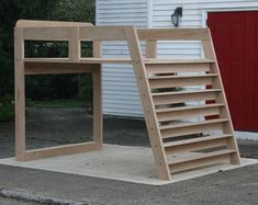 This Solid Hardwood Loft Bed with no furniture under it and options for mattress sizes and wood species is just one of the custom, handmade pieces you'll find in our beds & headboards shops. Bunk Beds With Stairs, Kids Bunk Beds, Queen Loft Beds, Loft Bed Plans, Sports Bedding, Murphy Bed Ikea, Hardwood Furniture, Loft Spaces, Bed Sizes