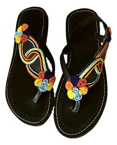 Gorgeous handmade Leather and Bead Sandals