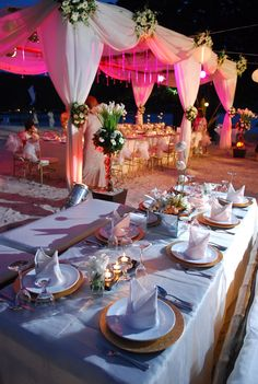 #pink beach wedding reception... Wedding ideas for brides, grooms, parents & planners ... https://itunes.apple.com/us/app/the-gold-wedding-planner/id498112599?ls=1=8 … plus how to organise an entire wedding ♥ The Gold Wedding Planner iPhone App ♥